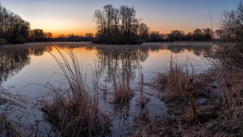 Milotický rybník, východ slunce