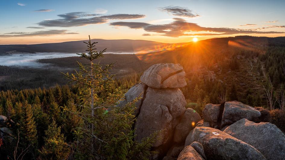 východ slunce z Pytláckých kamenů, Jizer