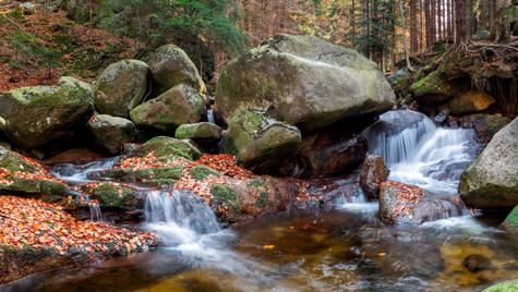 panorama vodopádů na Smědé, Jizerské hor