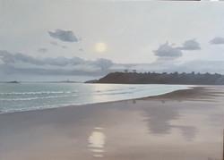 Contre-jour sur la plage de Saint-L