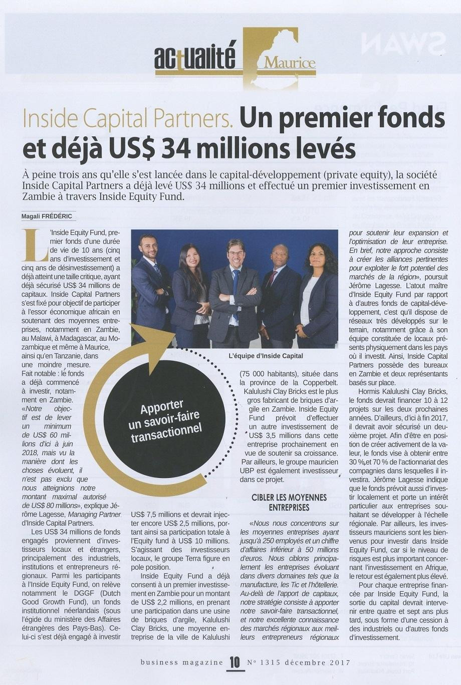 Article in Business Magazine Océan Indien, December 2017 issue