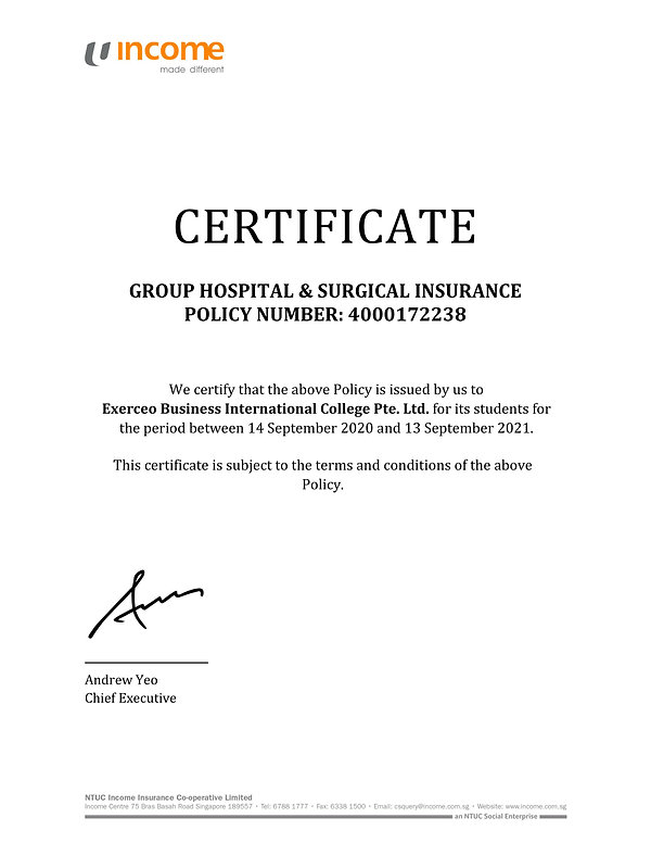 GHS Cerificate of Insurance - Exerceo (1