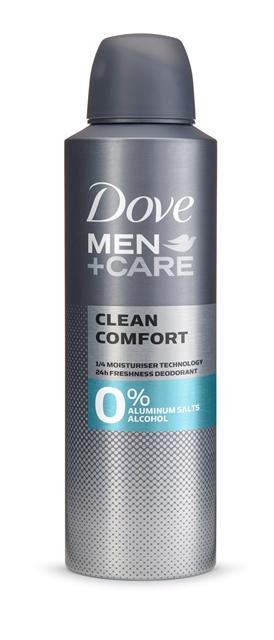 Dove 0 Men+Care Clean Comfort, diseñado para combatir el mal olor, su tecnología de 1⁄4 de crema hidratante protege la piel contra la irritación y su fórmula libre de alcohol es fuerte contra el sudor, no con la piel. Brinda una frescura duradera todo el día. (PVPR aerosol: 3,49€ 200ML y 2,99€ 150ML)