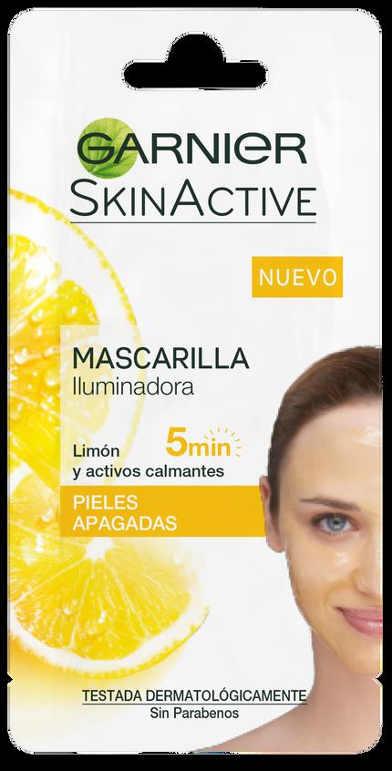 Mascarilla iluminadora a base de limón con activo alisador. Textura gel para pieles apagadas con irregularidades. Alisa, suaviza e ilumina la piel. Con aclarado.(1,75€)