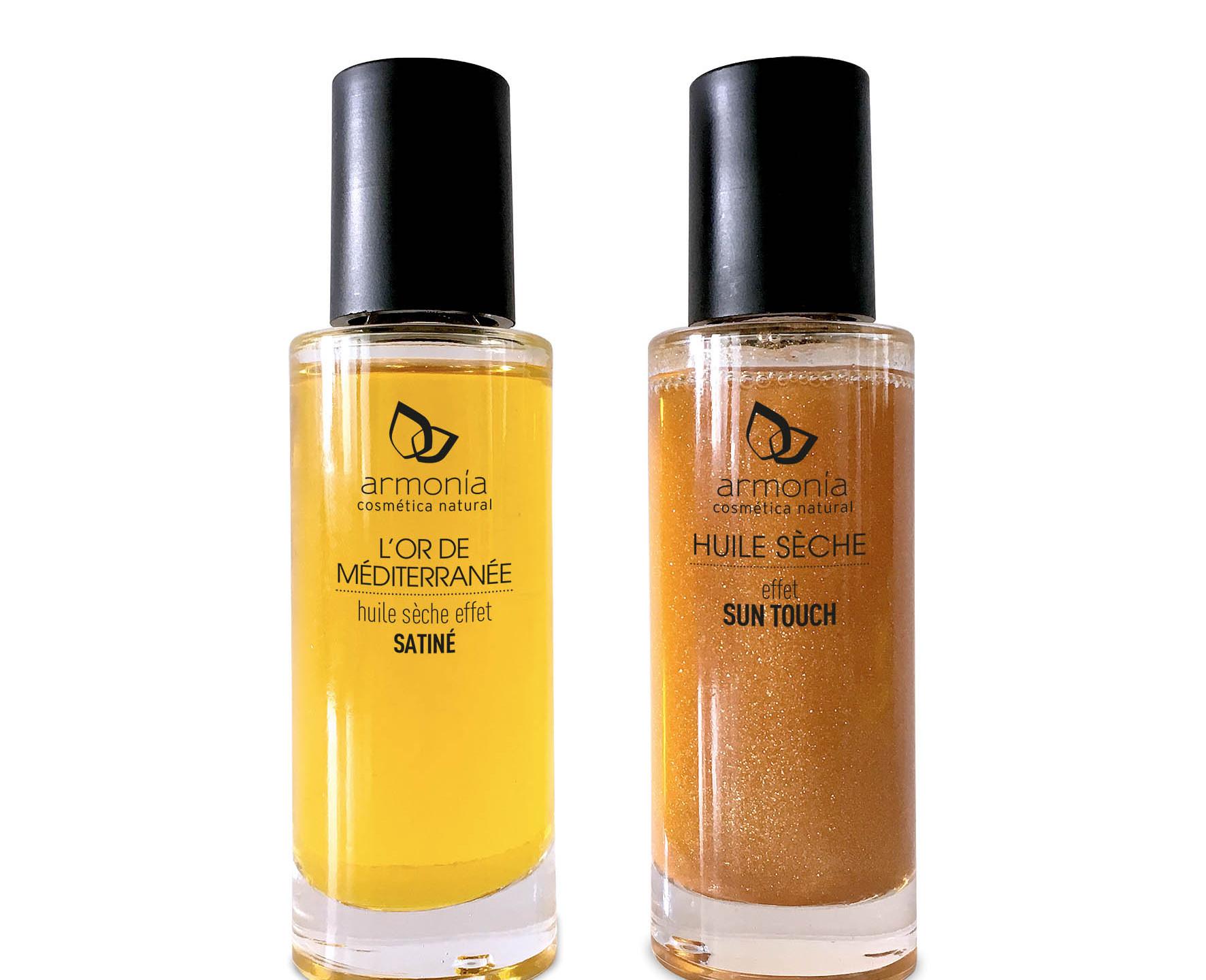 """Los aceites secos """"Sun Touch"""" y efecto satinado de Armonía Cosmética Natural están compuestos de aceites tradicionales naturales reparadores, como el de oliva y argán, y nutritivos, como el de sésamo y almendras dulces. Además, su textura es ligera y de rápida absorción. (9,50€/Ud.)"""