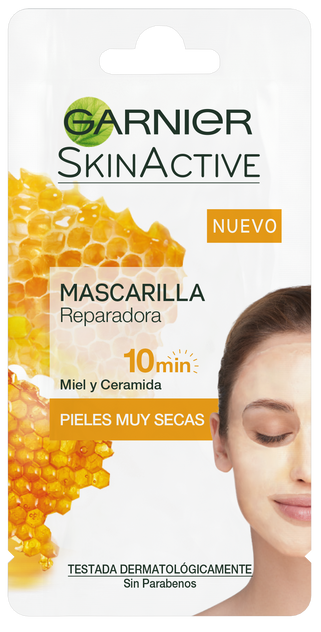 Mascarilla reparadora a base de miel. Textura cremosa y fundente para pieles secas a muy secas. Nutre y alivia la sensación de tirantez. Sin aclarado. (1,75€)