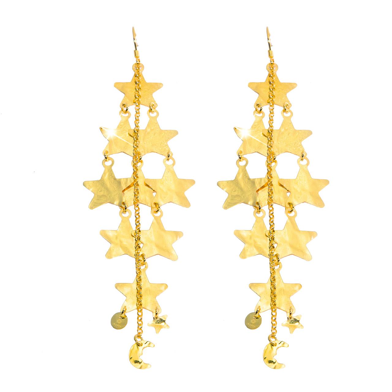 Pendientes de estrellas en plata dorada (175€)
