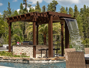 custom designed water feature pergola in tampa