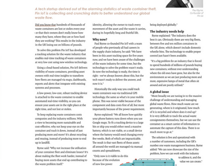 """PIN IoT Featured in Startups Magazine - """"Assigning identities to waste containers"""""""