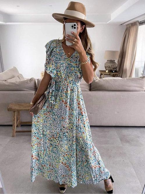 Ma longue robe fleurie turquoise