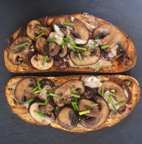 Mushroom and Caramelized Onion Toast with Truffle Aioli