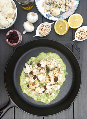 Lemon Roasted Cauliflower with Green Tahini