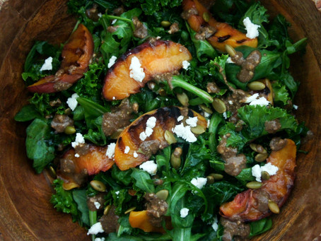 Grilled Peach Kale Salad