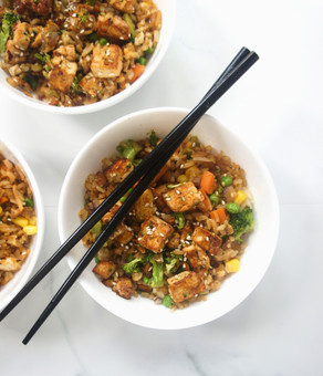 Vegetable Fried Rice with Crispy Sesame Tofu