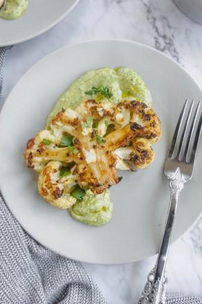 Cauliflower Steaks with Green Hummus