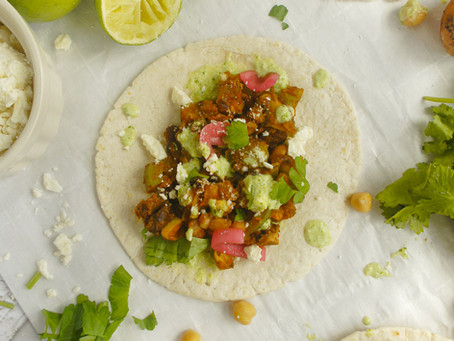 Smashed Chickpea Tacos with Spicy Crema