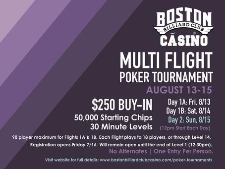 Announcing our AUGUST Multi Flight Tournament!