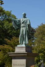The tower shares the park with a statue of William Emery Channing, an early leader in the Unitarian church that bears his name.