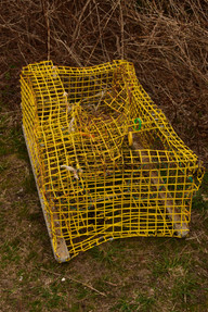 A broken lobster pot displayed the savagery of the Atlantic Ocean.