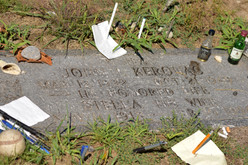 According to legend, Bob Dylan sneaks into the cemetery once a year to eat dinner with Kerouac on his birthday. Fans leave offerings around the stone, such as poems and the pens that wrote them, or the baseball that won the game. Jack loved baseball.