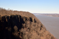 Here she found a fantastic From there view of the cliffs lining the Hudson River overlooking New York City.