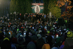 Up to 40,000 people flood Punxsutawney to drink, dance, and scream as Phil is brought from his stump.