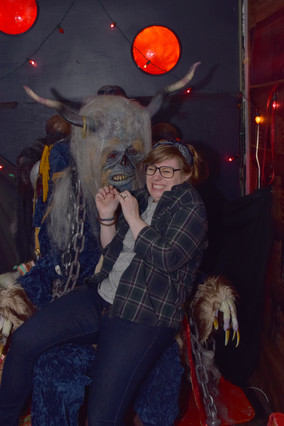 She found the Krampus in a back hall but she had to be close to hear him whisper.