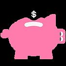 Coin going into a piggy bank