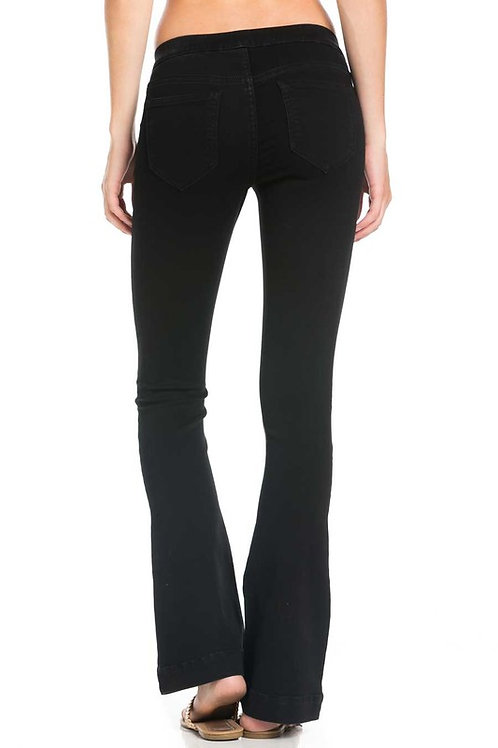 Mid Rise Flared Jeans, Black