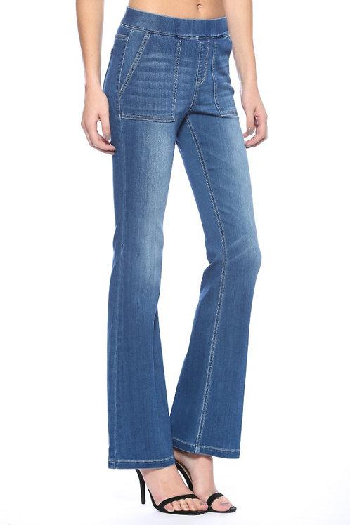 Mid Rise Flare Jeans, Medium Wash