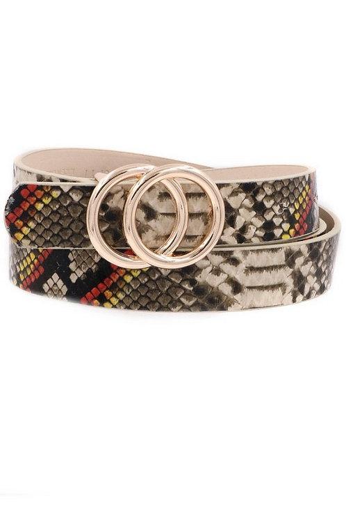 Snake Print Belt, Multi Color
