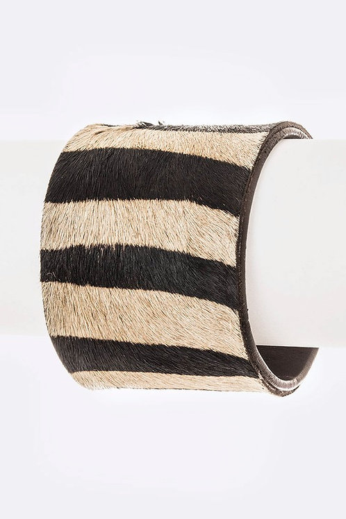Calf Leather & Zebra Printed Cuff