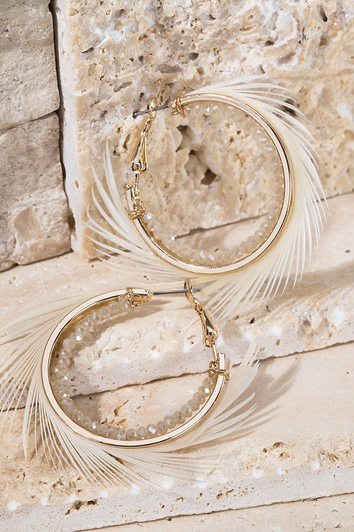 Feather Accent Hoop Earrings
