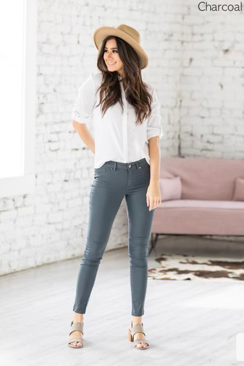 Classic Skinny Pants, Charcoal