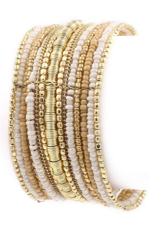 Seed Bead Cuff, Ivory