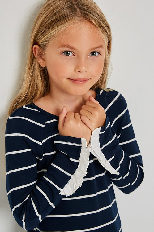 Girl's Navy Striped Top