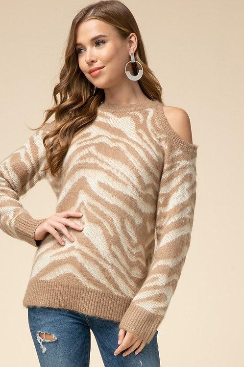 Zebra Print Cold Shoulder Sweater
