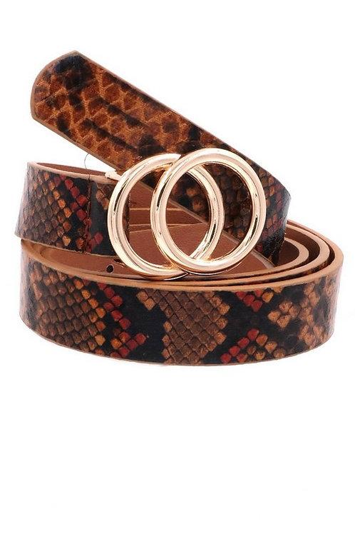 Snake Print Belt, Brown