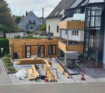 Die Hütte während der Bauphase