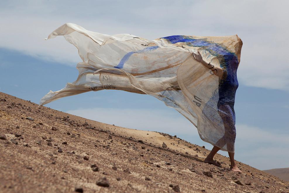 Lika Mutal 'Windshape' Performance with veil created for The Condor Stone Paracas, Peru 2014