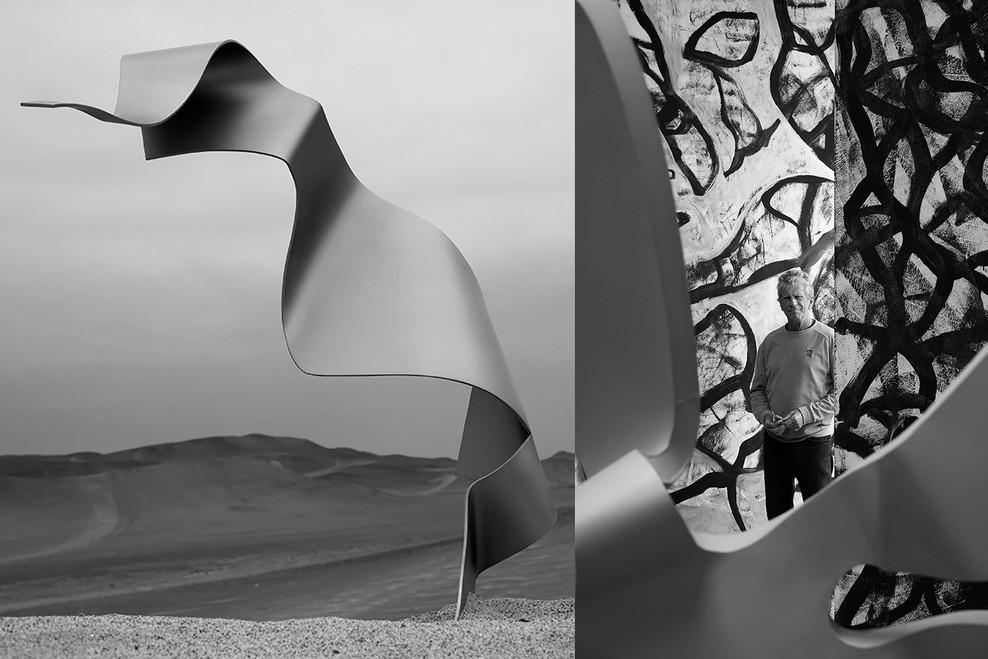 Gam Klutier with sculpture.  The desert of Paracas  Peru 2019