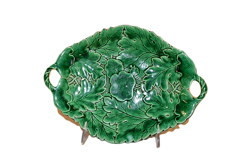 19th-C. Majolica Leaf Dish