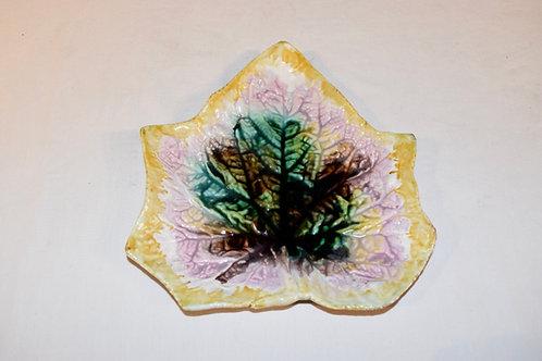19th-C. Majolica Leaf Plate