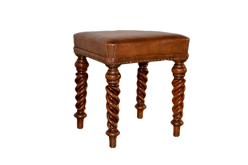 19th C. Leather Stool