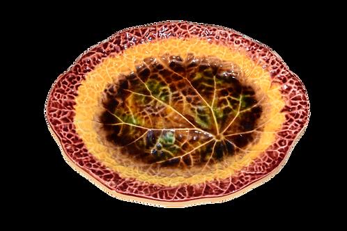 19th C Multicolored Majolica Leaf Dish