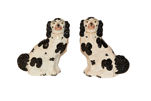 Pair of Large 19th C. Staffordshire Spaniels