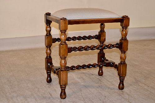 19th c. Turned Upholstered Stool
