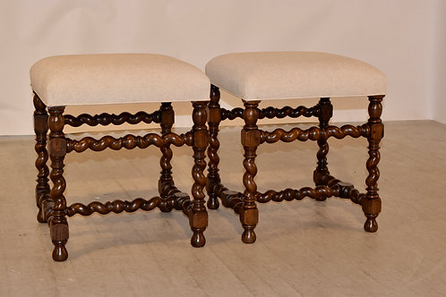 19th-C. Pair of English Stools