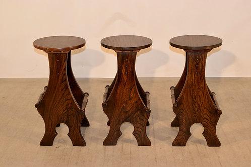 Set of 3 Elm Stools