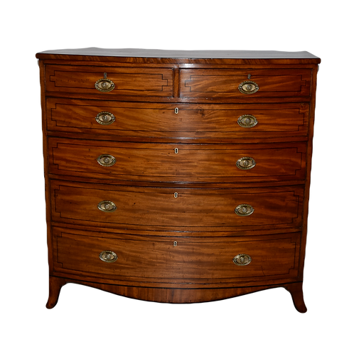 19th-C. Large English Bow Front Chest